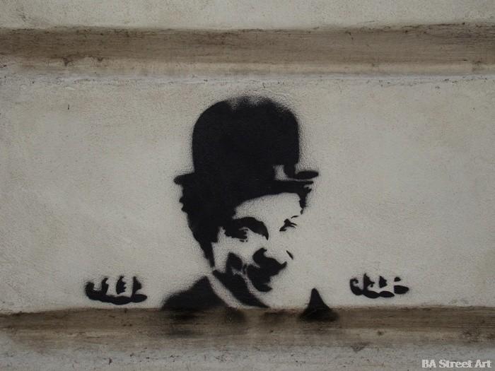Charlie Chaplin stencil buenos aires buenosairesstreetart.com