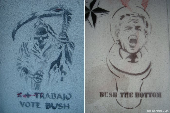 buenos aires graffiti tour george bush stenciles street art argentina buenosairesstreetart.com