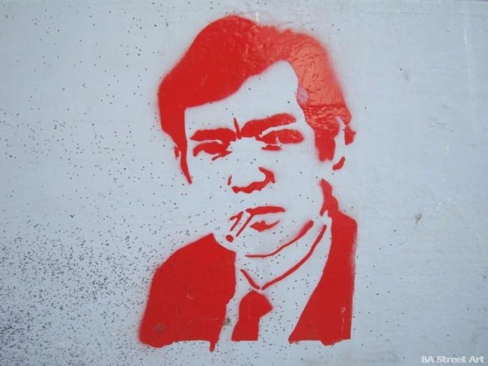 Julio Cortazar stencil buenos aires street art © buenosairesstreetart.com