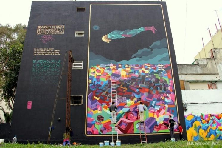 buenos aires murales Triangulo Dorado © BA Street Art grTriangulo Dorado artists buenos aires street art graffiti © BA Street Art Tours buenosairesstreetart.comaffiti buenosairesstreetart.com