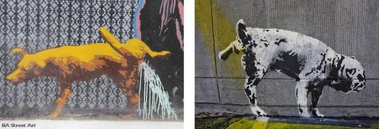 Banksy graffiti dog urinating pissing buenos aires street art tour photo © BA Street Art tour buenos aires buenosairesstreetart.com