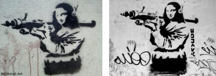 Banksy Mona Lisa with rocket launcher stencil buenos aires street art tour  © BA street art tour buenos aires buenosairesstreetart.com