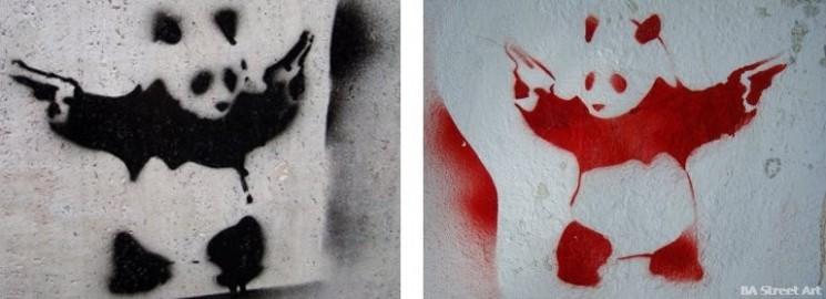 Banksy panda graffiti buenos aires graffiti tour stencil © BA street art tour buenos aires buenosairesstreetart.com
