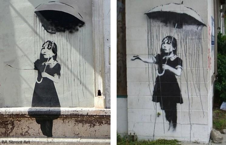 Banksy buenos aires graffiti tour umbrella girl rain buenosairesstreetart.com
