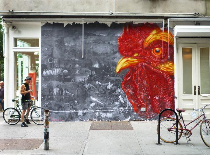 gaia rooster street art graffiti new york rooster cockerel mural buenosairesstreetart.com