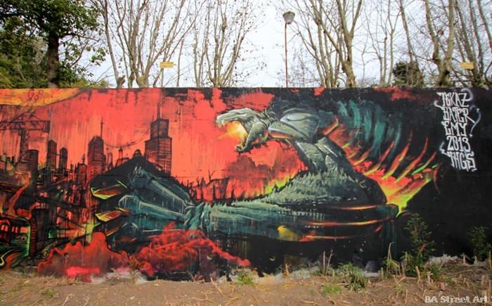 buenos aires blaze damage graffiti mural monster buenosairesstreetart.com