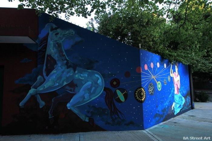 Caballo azul mural cuore street art buenos aires mural project organized by BA Street Art argentina buenosairesstreetart.com