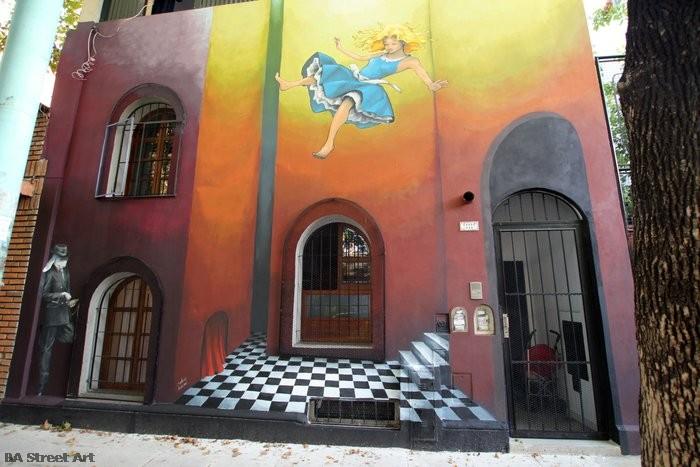 Alice in Wonderland lewis carrol mural argentina rabbit hole buenosairesstreetart.com