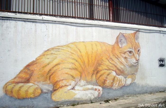 cat mural george town penang malaysia street art buenosairesstreetart.com