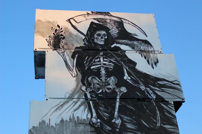 death skeleton graffiti street art mural belgium jen zie