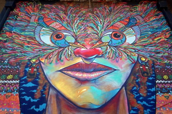 Santiago street art at museo a cielo abierto ba street art for Carpenter papel mural santiago chile