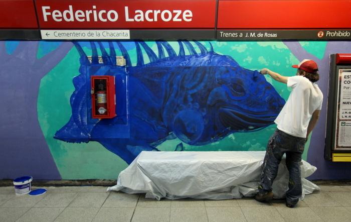 murales federico lacroze estacion artistas arte urbano subte buenosairesstreetart.com