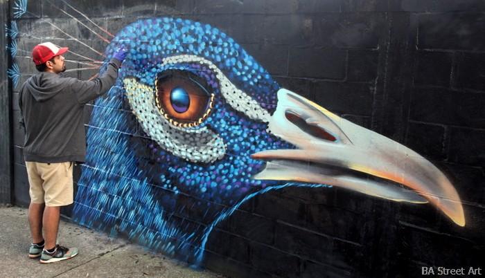 ren graffiti artist chile mural bird peacock buenosairesstreetart.com