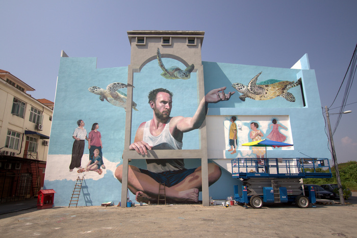 Martin ron new giant mural in penang malaysia ba street art for Mural 1 malaysia negaraku