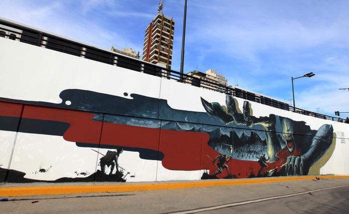 emy mariani mural buenos aires argentina tunnel constitucion