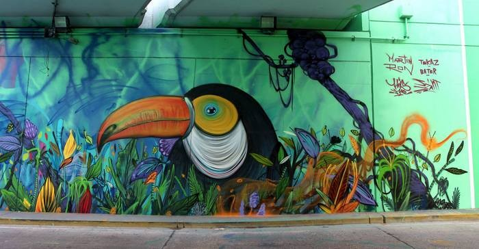 toucan jungle graffiti buenos aires tunnel street art