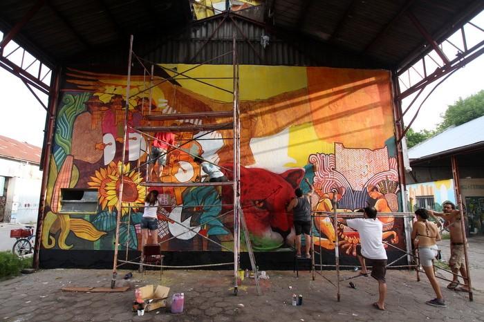 BA Street Art Dan Silva Marcelo Carpita mural Corralón de Floresta Buenos Aires
