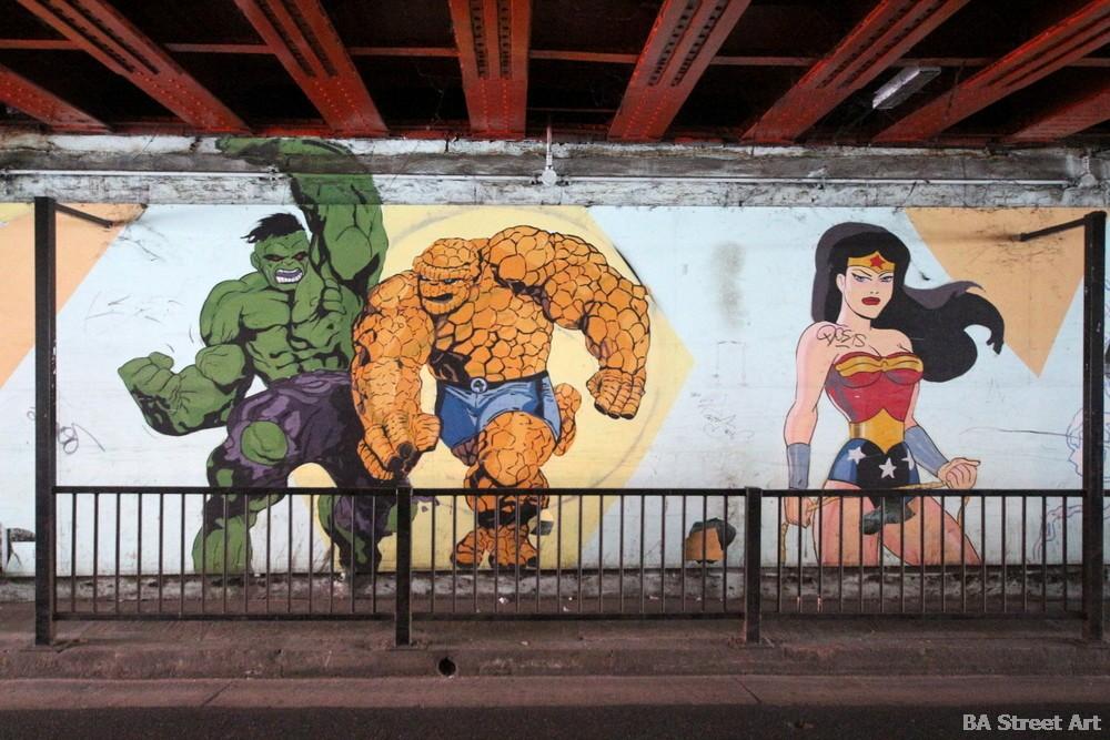 superheroes graffiti street art buenos aires fantastic four wonder woman buenosairesstreetart.com