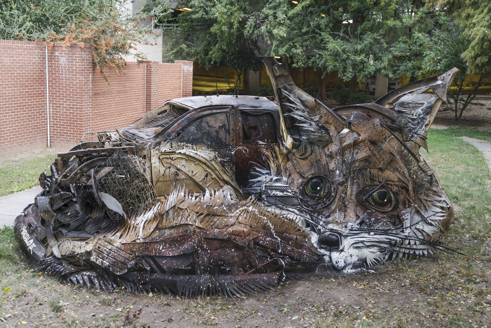 Bordalo II sculpture street art recycled material fox arkansas