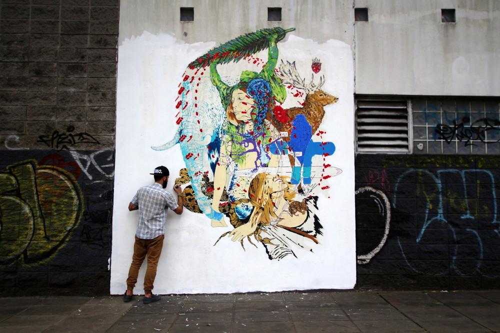 non seq baltimore artist paul mericle animal mural wheat paste BA Street Art buenosairesstreetart.com