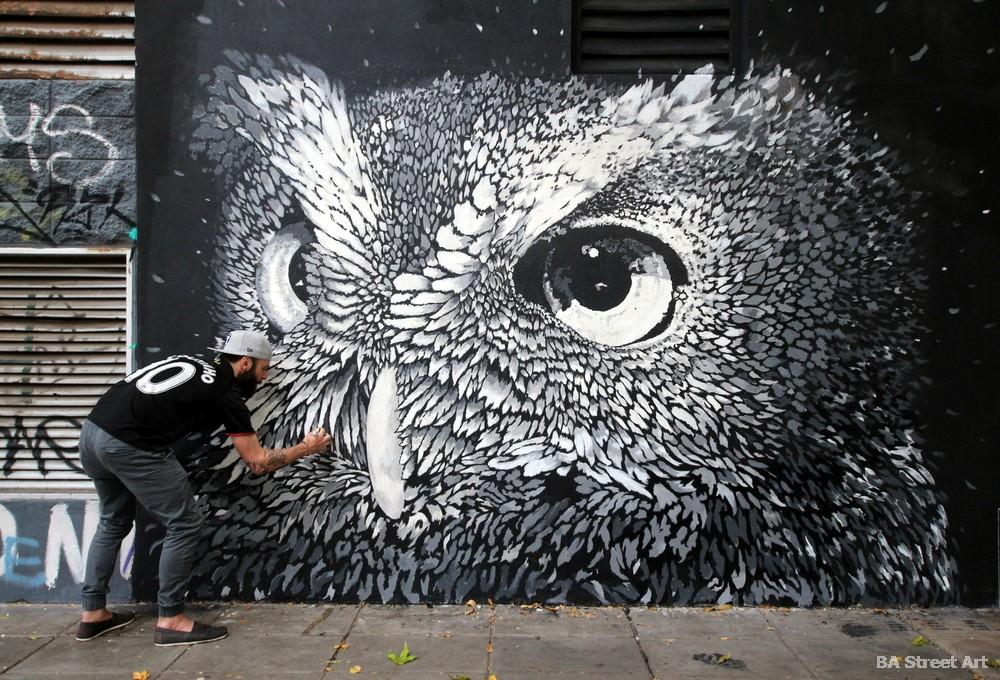 great horned owl argentina buenos aires urban art murales buenosairesstreetart.com