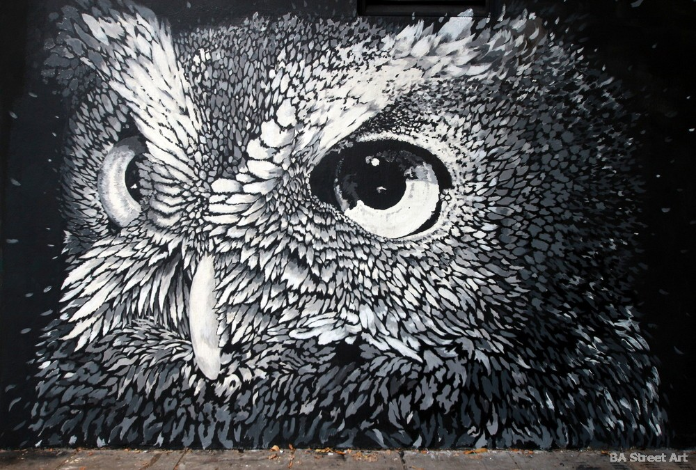 lechuza mural arte urbano argentina buenos aires  buenosairesstreetart.com