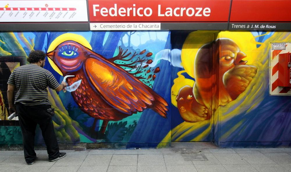federico lacroze estacion de tren subte chacarita linea a alem gobierno anden murales luxor artista