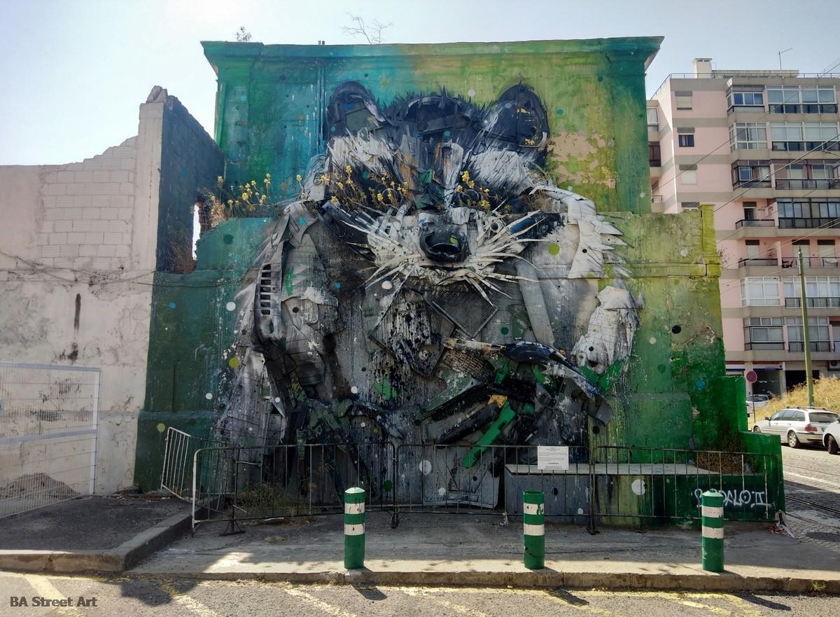 bordalo II racoon lisbon portugal mural guaxinim lisboa graffiti tour renard mural sculpture escultura murais trash rubbish recycled material