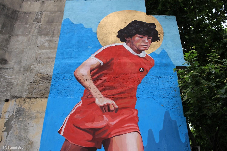 maradona mural la paternal argentinos juniors buenos aires street art grafiti arte callejero buenosairesstreetart.com