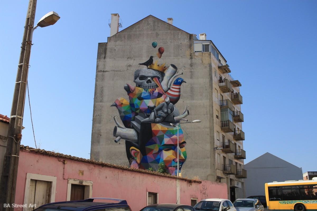 okuda san miguel mural lisbon marvila artista arte escultura graffiti street art arte callejero tour lisboa colores formas exposicion canvas