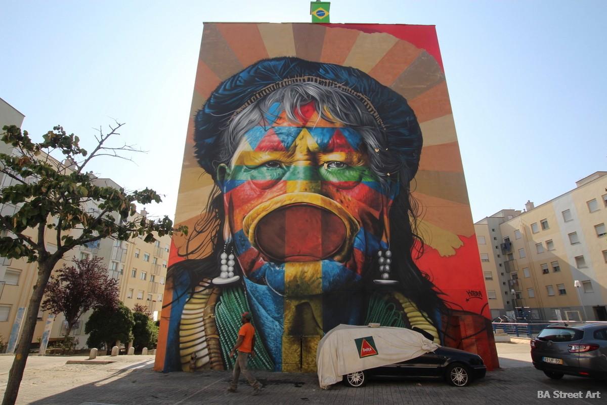 lisbon graffiti tour eduardo kobra brasil lisboa muraies raoni warrior chief amazona lisboa