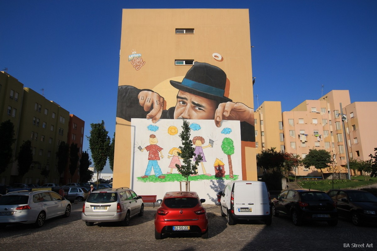 lisbon graffiti tour mr dheo mural portugal bairro padre cruz lisboa arte urbano realismo realistic art 3d
