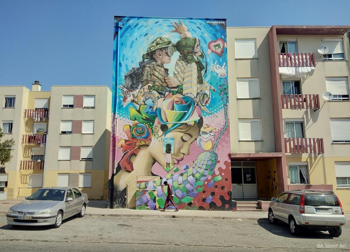 Nomen vespa pdf utopia graffiti tour arte urbano Sacavem murais fresques arte callejero monoblock 4 story mural