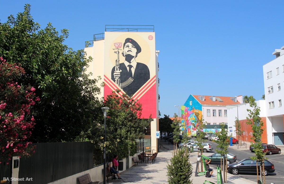 Shepard Fairey lisbon graffiti art tour portugal arte callejero grafiti lisboa fresque peinture murais buenosairesstreetart.com