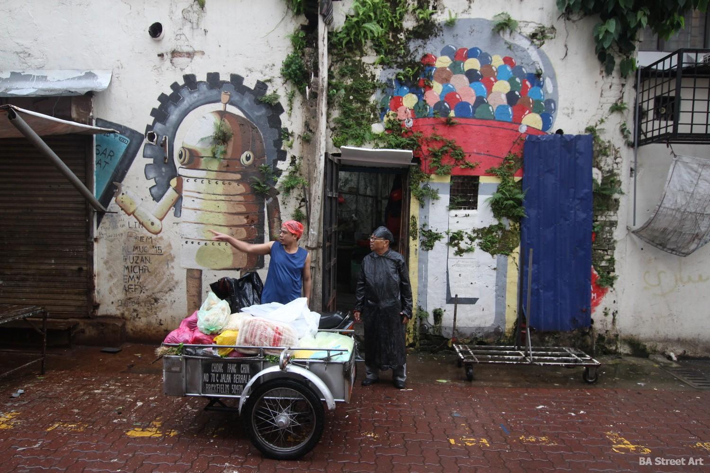 chinese restaurants kuala lumpur chinatown shops alley art murals malaysia buenosairesstreetart.com