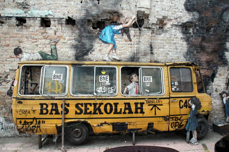 Ernest Zacharevic mural Kuala Lumpur school bus rage against the machine chinatown malaysia street art buenosairesstreetart.com