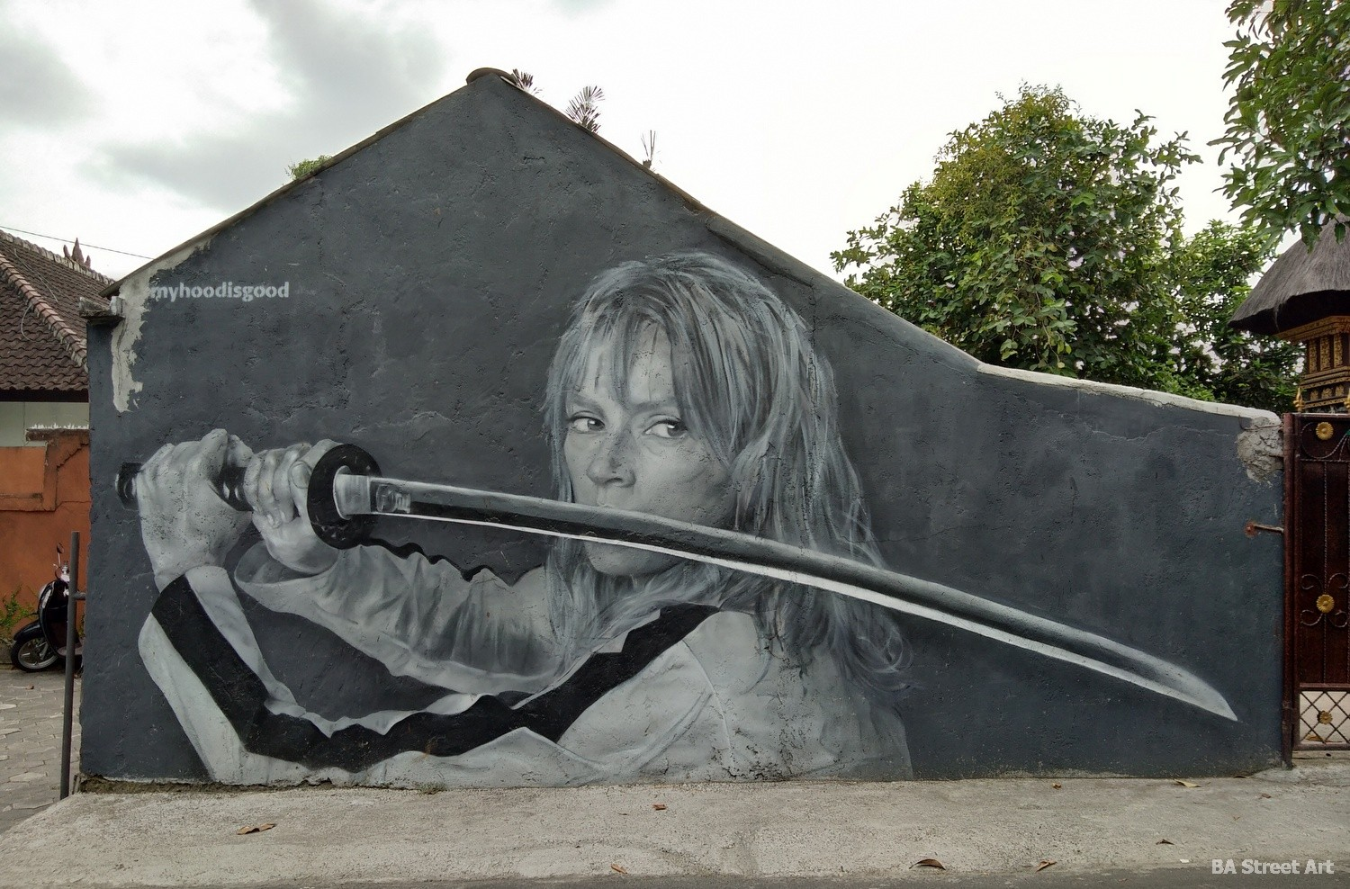 uma thurman mural kill bill canggu bali street art graffiti my hood is good artist buenosairesstreetart.com