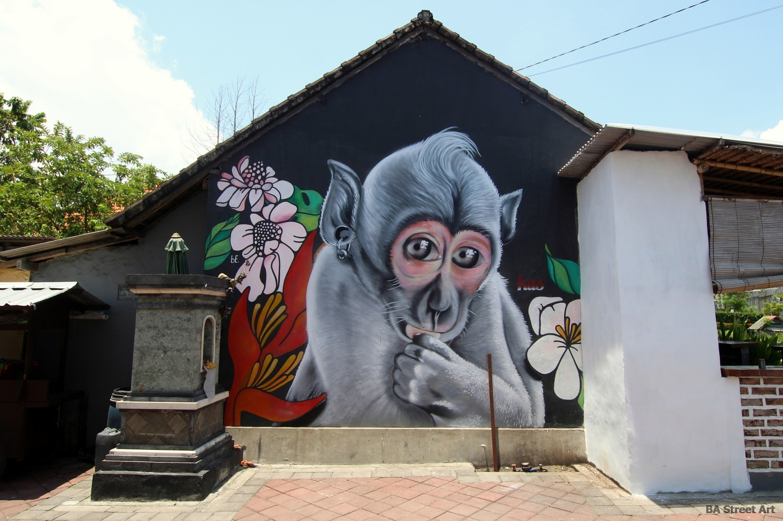 monkey mural bali canggu indonesia kas street artists buenosairesstreetart.com