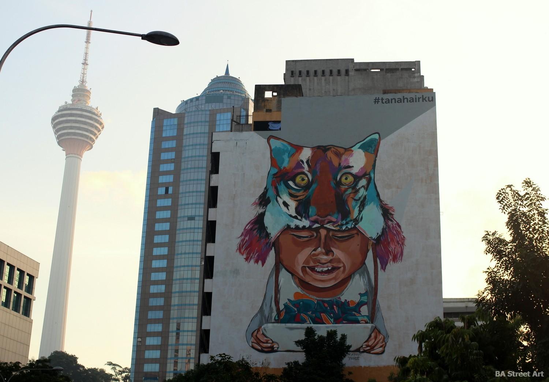KL tower kuala lumpur malaysia tour photo view tiger boy mural street art graffiti buenosairestreetart.com