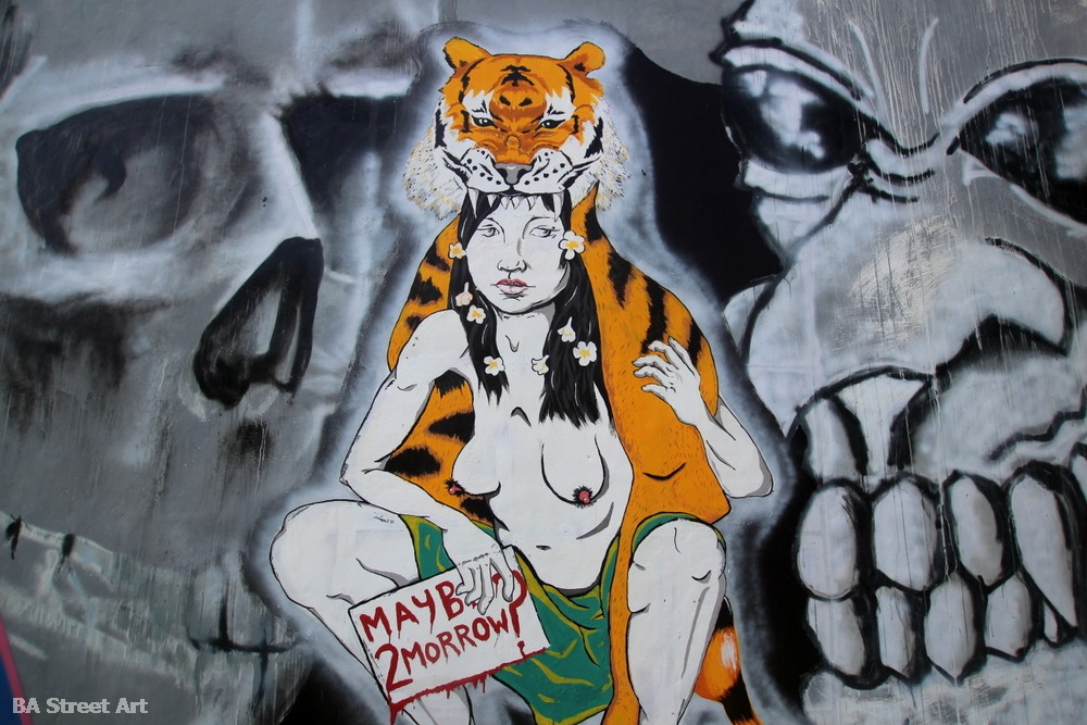 maybe tomorrow mural tiger girl bali street art graffiti skulls ubud indonesia buenosairesstreetart.com
