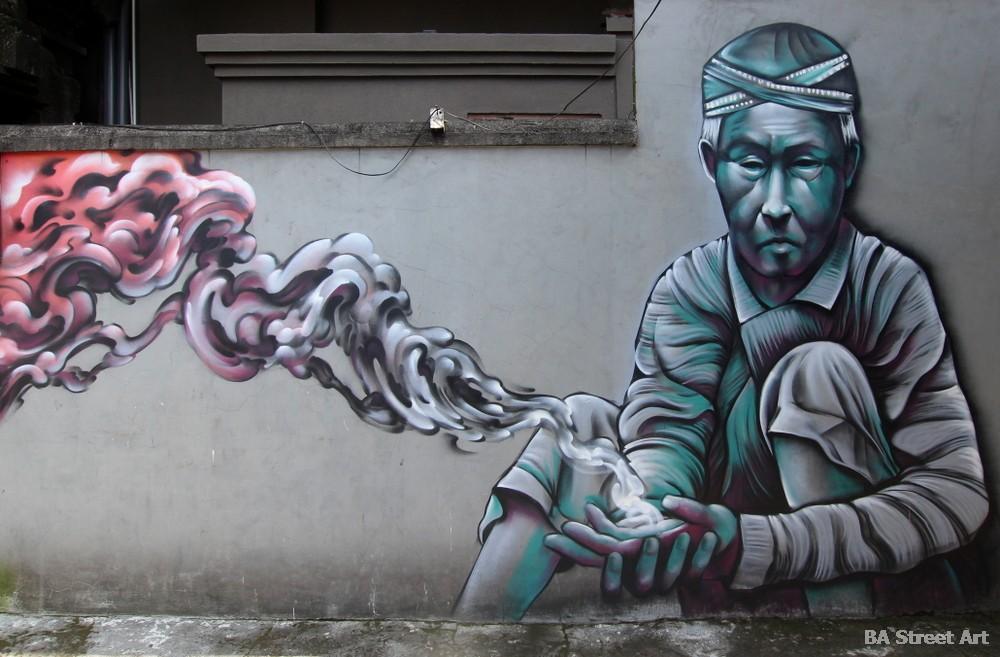 shaun burner mural ubud bali franki julianna indonesian man portrait street art buenosairesstreetart.com