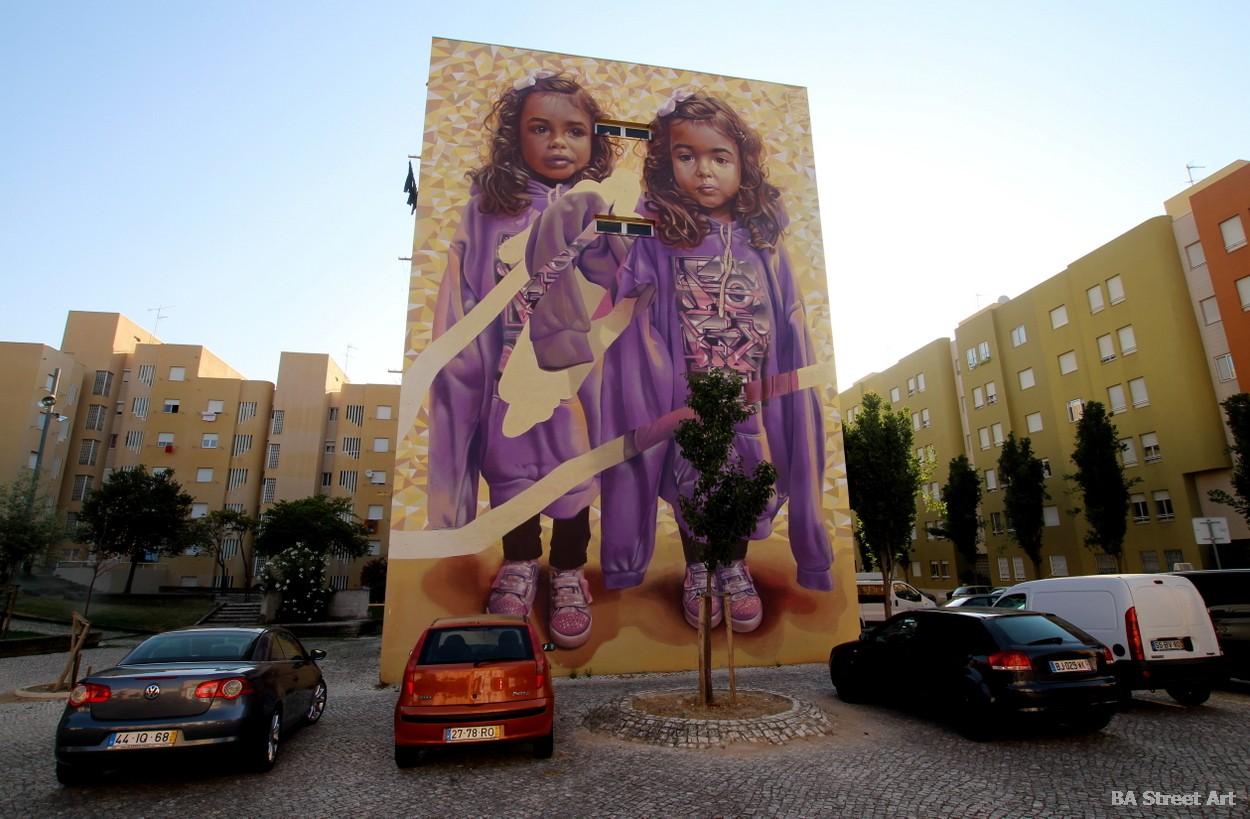 Telmo Miel Pariz One mural lisbon portugal bairro cruz street art graffiti murales murais fresques peinture