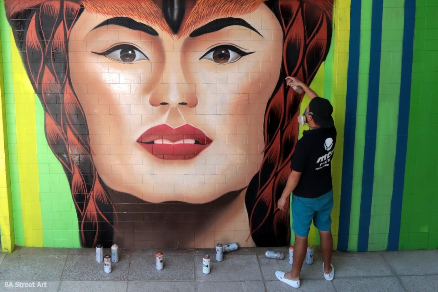 realismo muralista hech uno graffiti mujer retrato buenos aires argentina BA Street Art proyecto de mural