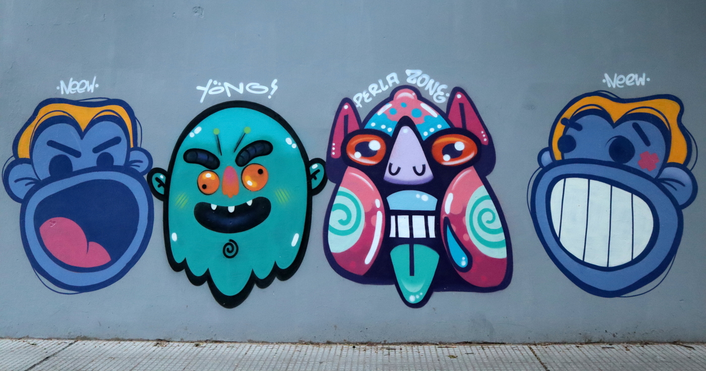 cartoons street art arte callejero diseño grafico neew perla yong buenos aires