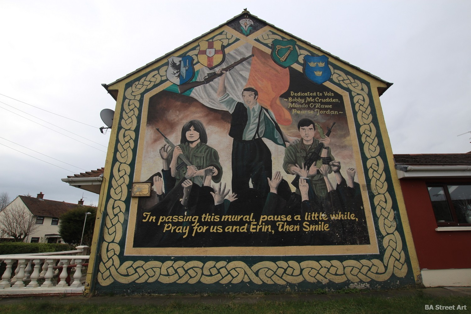 IRA mural belfast political graffiti propaganda bobby mcCrudden pray for us & erin northern ireland conflict