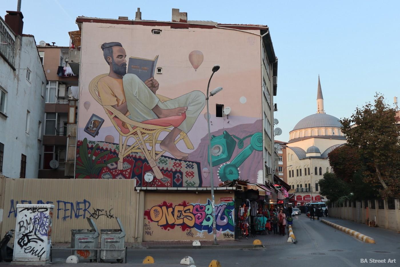 artez mural istanbul kadikoy book libro portrait street art graffiti