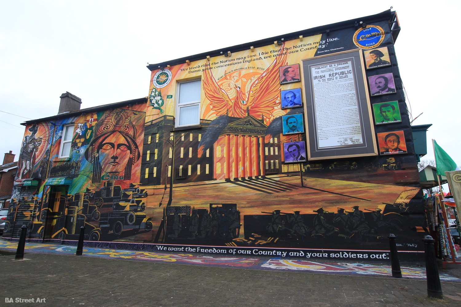 belfast mural republican propaganda stormont parliament on fire IRA northern ireland