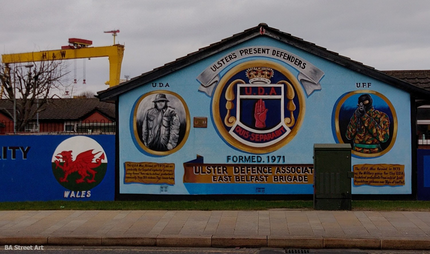 Political mural protestant ulster defence force UDF belfast UFF ulster freedom fighters