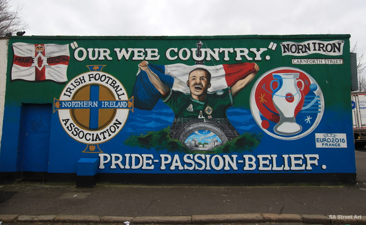 belfast mural northern ireland football mural Gareth McAuley euro 2016 france