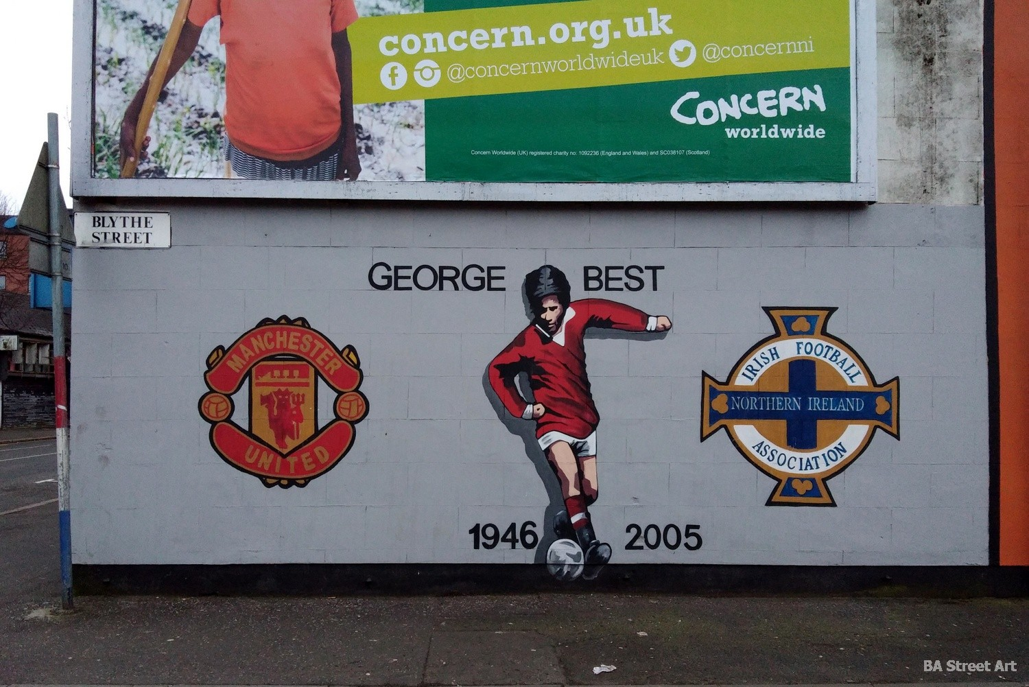 george best mural belfast northern ireland manchester united sandy row football